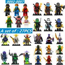2016 HOT 27PCS Compatible Legoes Ninjagoes Minifigures With Weapon Kai Cole Jay Zane Lloyd Nya Ninja Building Blocks Kids Gifts(China (Mainland))