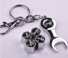 4pcs/pack Car Wheel Tire Valve Caps with Mini Wrench & Keychain for Jeep Auto Accessories(China (Mainland))