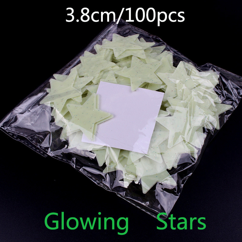 3.8cm Stars Luminous Paste 100pcs SMD LED Fluorescent Luminous Three-Dimensional Wall Stickers Stickers