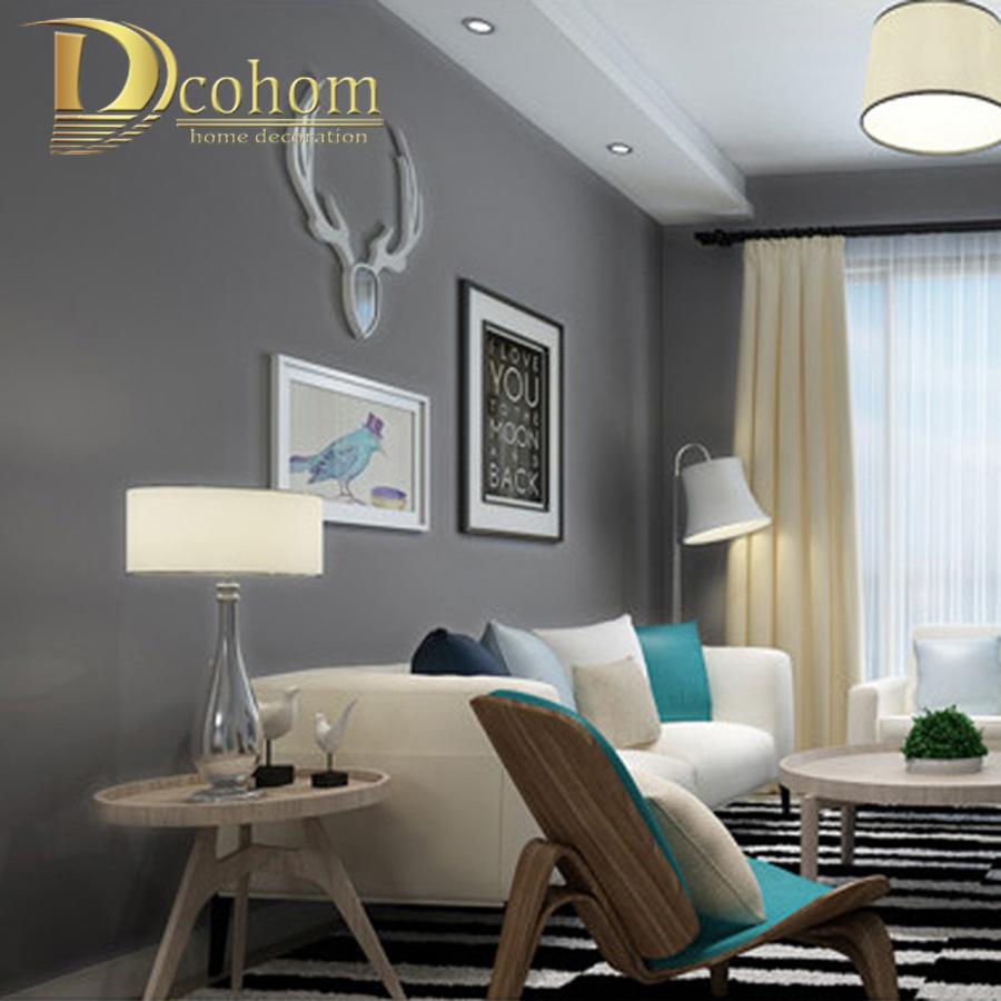 Minimalist Solid Color Modern Wallpaper Walls Bedroom Living Room Tv Sofa Deep Font Grey Metal Sofas Trendy Art Deco