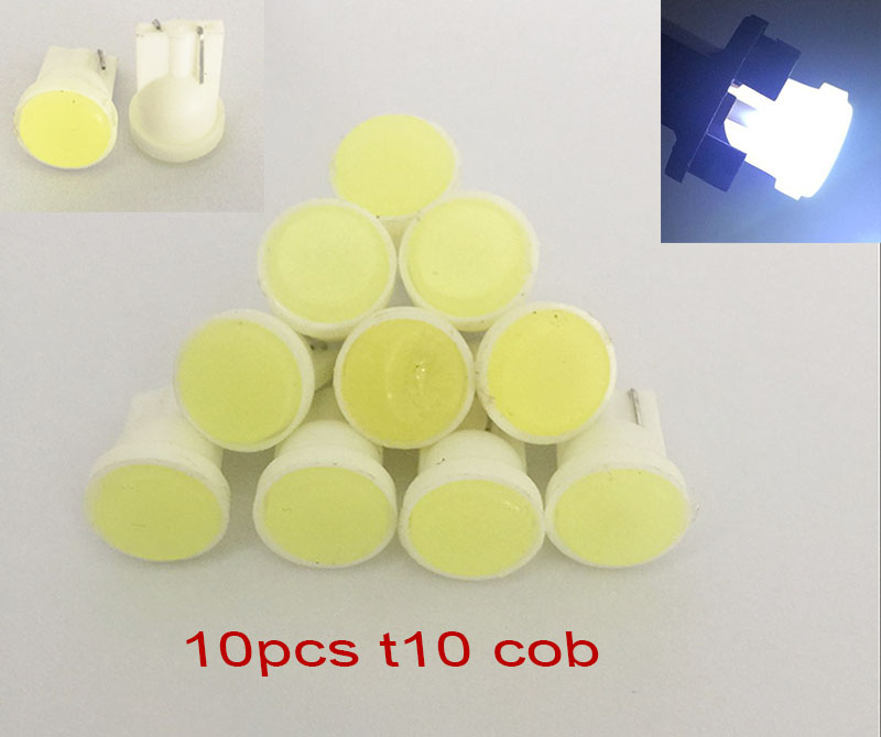 10pcs Ceramic Car Interior LED T10 COB W5W Wedge Door Instrument Side Bulb Lamp Car Light Blue/White/red/Pink Source 12V(China (Mainland))
