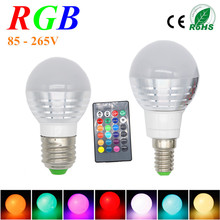 3W RGB Lampada LED Bulb E27 85-265V RGB LED Lamp E27 220V 110V Spotlight Lamparas LED Light Bulb E14 Spot Luz Christmas Lampadas(China (Mainland))