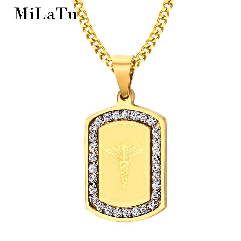 MiLaTu Men Medical Necklaces & Pendants Stainless Steel CZ Stone Caduceus Pendant Free Chain Vintage Male Jewelry NE260G