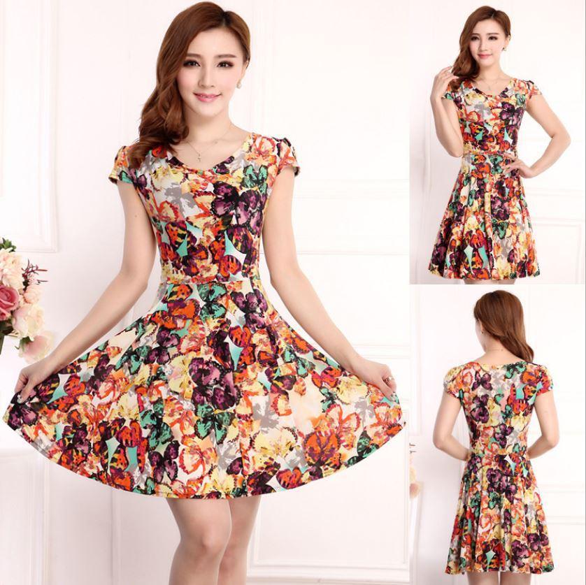 2015 European and American fashion new women's dress silk short-sleeved round neck loose big yards beauty fine print dress(China (Mainland))