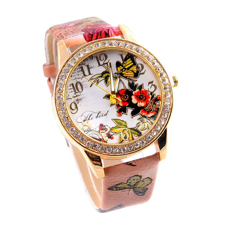 Гаджет  Casual Fashion China Watch Luxury Gold Diamond Latest Design For Women PU Leather 4 Colors Strap Relojes Mujer 2015 None Часы