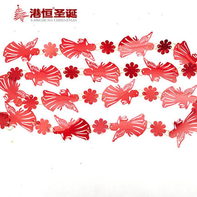 Christmas decoration 200cm bells snowflakes angels Christmas chain string Christmas tree decoration hanging string 30g(China (Mainland))