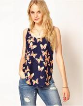 2015 New Arrival Hot Sell New Women Girls Lady Casual Butterfly Print Sleeveless Chiffon Tank Top