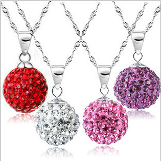 925 Sterling Silver Necklaces Korean Fashion Inlaid Crystal Shambhala Ball Necklace For Women Romantic Gifts 5Z-XL136(China (Mainland))