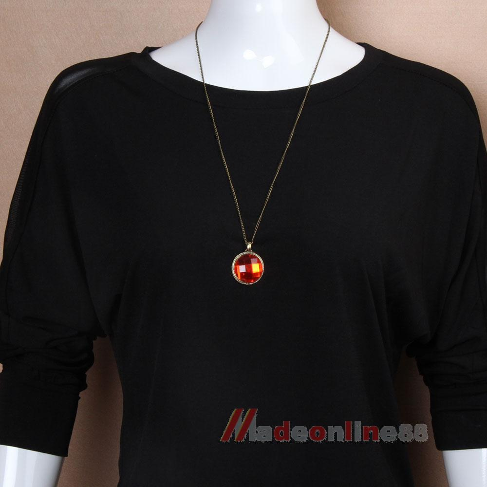 Fashion Retro Copper Ruby Jewlery Woman Girls Long Sweater Necklace M3AO