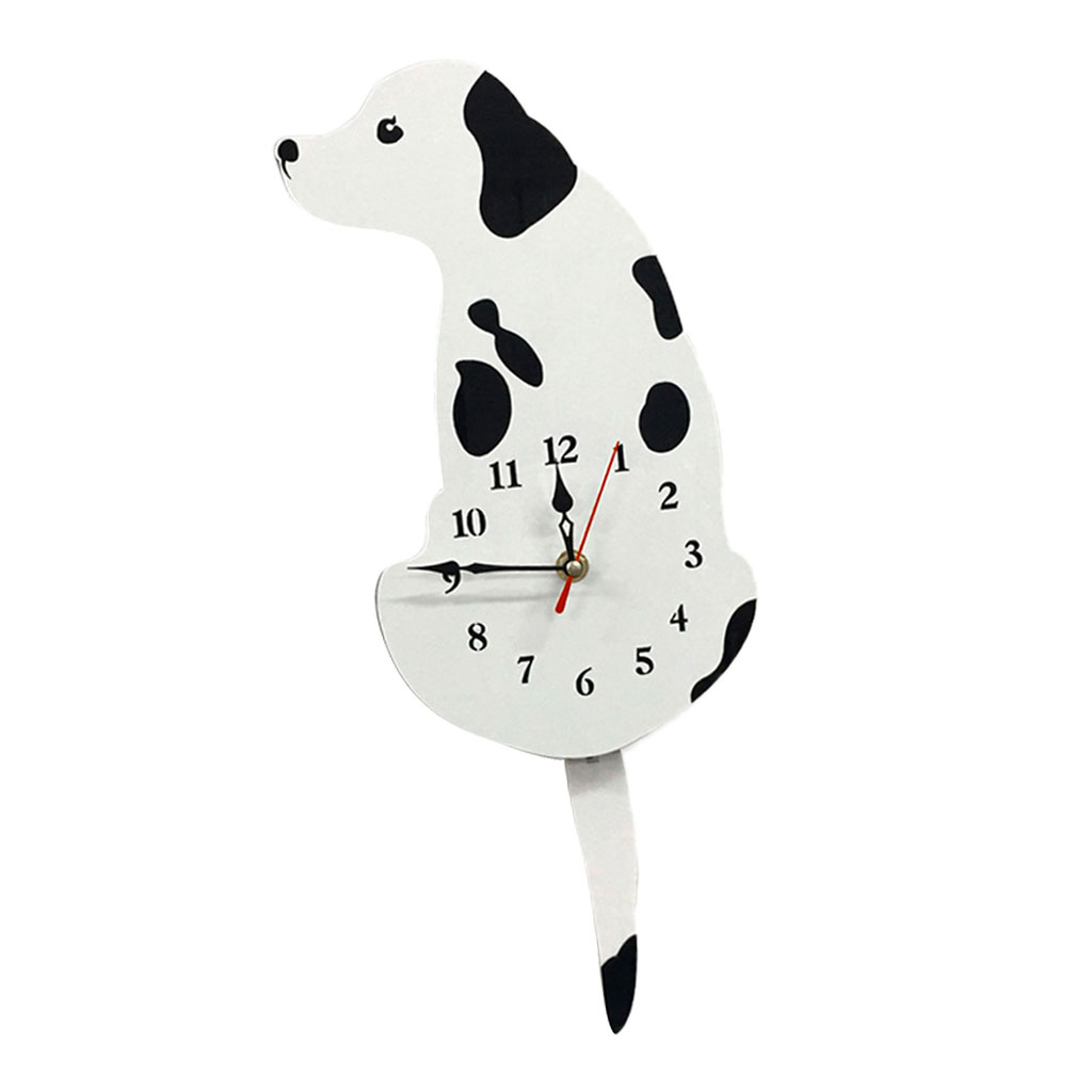 Wagging Tail Poodle Dog Black /& Yellow Silhouette Wall Clock