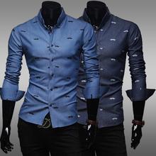 2015 Full Casual Shirts Herringbone Top Fashion Sale Spring Male 100% Cotton Casual Shirt Slim Water Wash Denim Long-sleeve