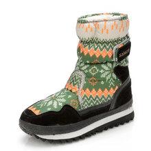 Nuevo 2017 Invierno Media Botas para la Nieve de Las Mujeres A Prueba de agua Portátil de Piel Antideslizante Mantener Caliente Gruesa Hebilla Mujer Copo de Nieve Botas zapatos de Mujer(China (Mainland))