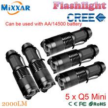 ZK50 5 pcs/lot CREE Q5 Mini Black 2000LM LED Flashlight 3 Modes Zoomable small LED Flahslight Torch penlight waterproof(China (Mainland))