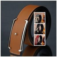 Free Shipping +Orange  Belt Fashion Mens Genuine Leather Belt  Man Waist Alloy Style Buckle Belts Best sale