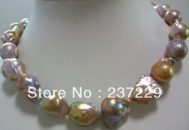 Wholesale price FREE SHIPPING ^^^^huge Color AAA 15-25mm south sea baroque pearl necklace 18 INCH<br><br>Aliexpress