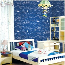 Modern Eco-friendly Non-woven Blue sky child wall paper roll bedroom Home decor starry background Boys Kids wallpaper for walls(China (Mainland))