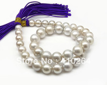 $wholesale_jewelry_wig$ free shipping SILVER GRAY!ROUND 8.7-11.9MM TAHITIAN PEARL NECKLACE 16.8INCH,14K GOLD CLASP(China (Mainland))