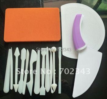 New 4pcs/set Cake Decorating Tools Set Modelling Tools Cake Scraper Gum Paste Pad  10sets/lot