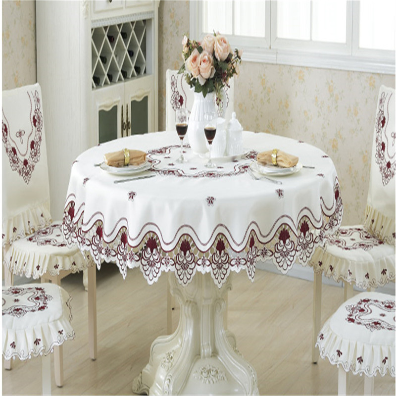 XT luxury embroidered tablecloth table dining round table cover table cloth wedding 213 flower chair cover home textile(China (Mainland))