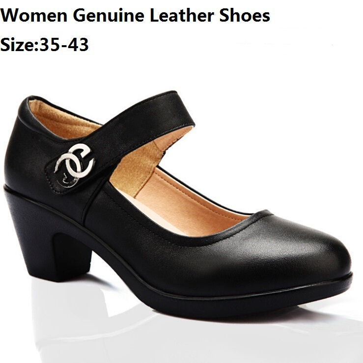 size 35 43 pumps genuine leather shoes big size