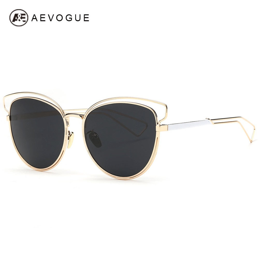 AEVOGUE Women's Sunglasses Newest Alloy Frame Brand Design Cat Eye Summer Style Sun Glasses Oculos De Sol Feminino UV400 AE0319