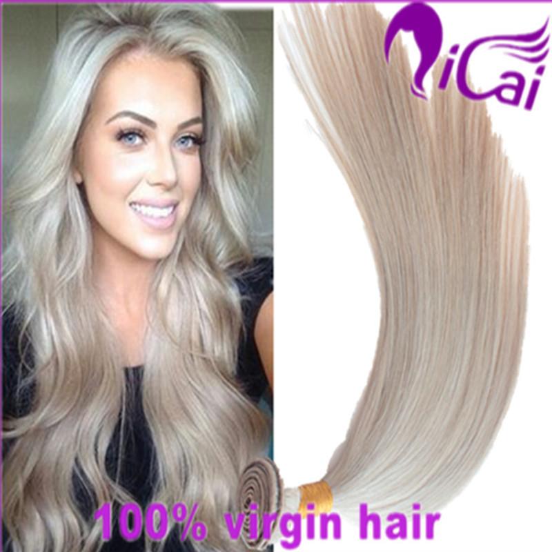 4 Bundles Blonde silk straight Hair Weaves Unprocessed Brazilian Virgin Remy Human Hair Extensions White Hair Weaving Extensions(China (Mainland))