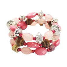 New Design Summer Style Fashion Pink Beads Bracelet Jewelry Three Layers Bohemia Bracelet Set Vintage Banquet Jewelry For Girl(China (Mainland))