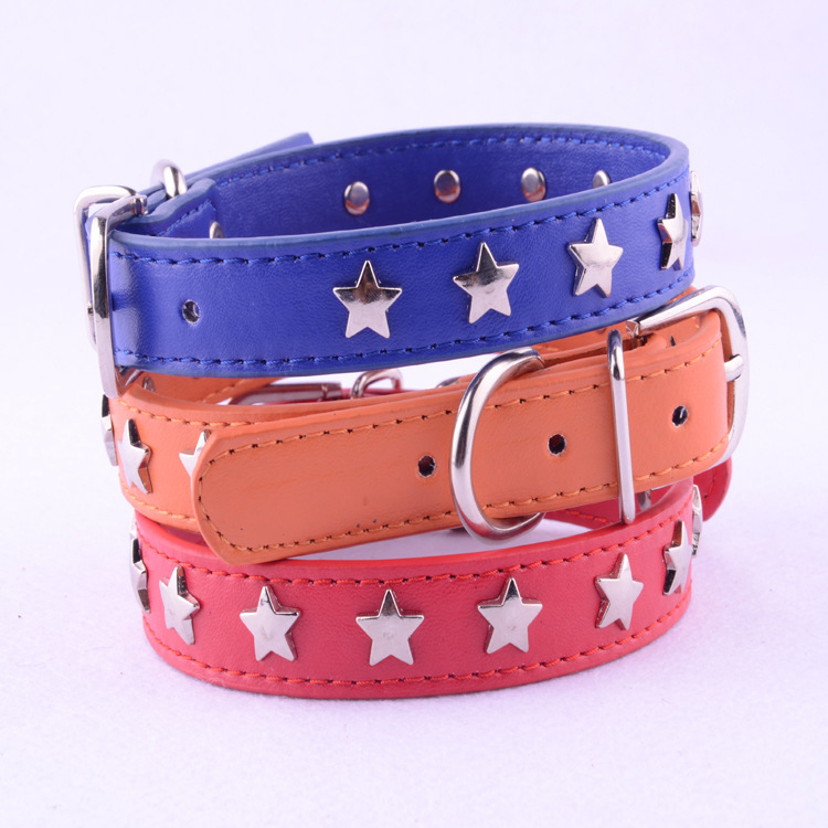 Newest Dog NecklacePU Leather Small Dog Collars With Stats Pet Products Puppy Cat Buckle Neck Fashion 8 Colors 4 Size XS S M L(China (Mainland))