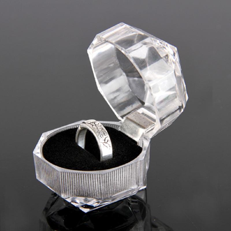 Free Shipping Elegant Useful 1pc Acrylic New Transparent Rings Earring Display Box Organizer Wedding Lady Case Hot(China (Mainland))