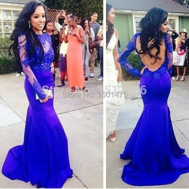 Vestidos De Festa Royal Blue 2015 Sheer Long Sleeves Evening Gowns Mermaid Court Train Open Back Formal gowns Arabic d20 - Diana-Bridal store