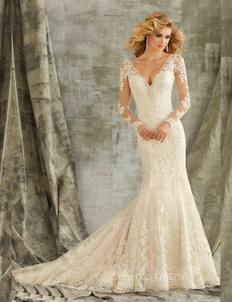 Long sleeve v neck illusion back wedding dress lace ivory for Lace button back wedding dress
