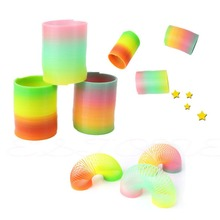 Free Shipping Classic Cool Children Colorful Rainbow Plastic Magic Slinky Development Toy(China (Mainland))