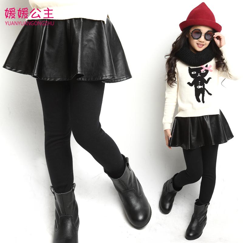 Baby Girls Leggings Black Elastic Waist Skinny Leather Winter Leggings For Girls Age 4-14 Kids Girls Pants Children Clothing(China (Mainland))