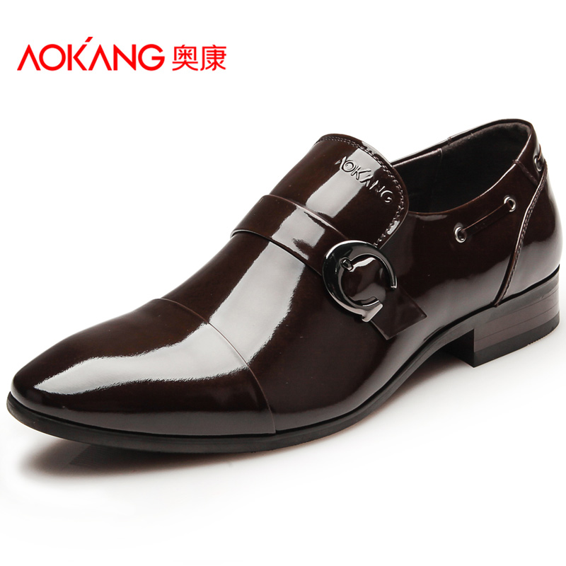 Aokang mens business formal leather male trend japanned leather fashion genuine leather wear-resistant single shoes low-top<br><br>Aliexpress