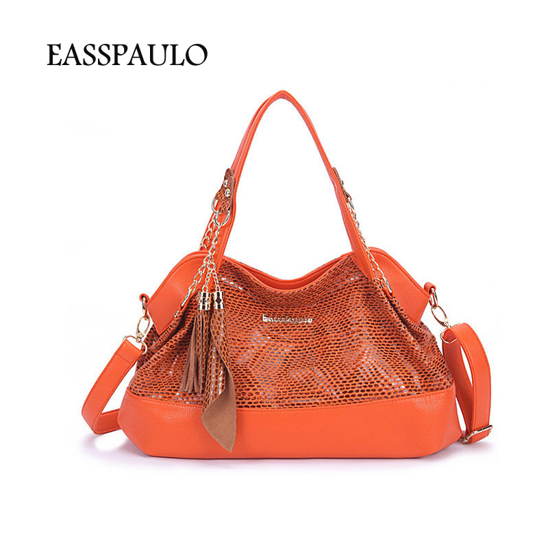 EASSPAULO Designer Brand Snakeskin Leather Handbags Women Hobo Bag Street Shopper Medium Shoulder Bags For Women Ladies(China (Mainland))