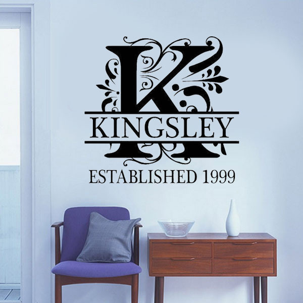 Word Wall Art Vinyl Lettering Home Decor ~ Initial monogram personalized family wall stickers diy