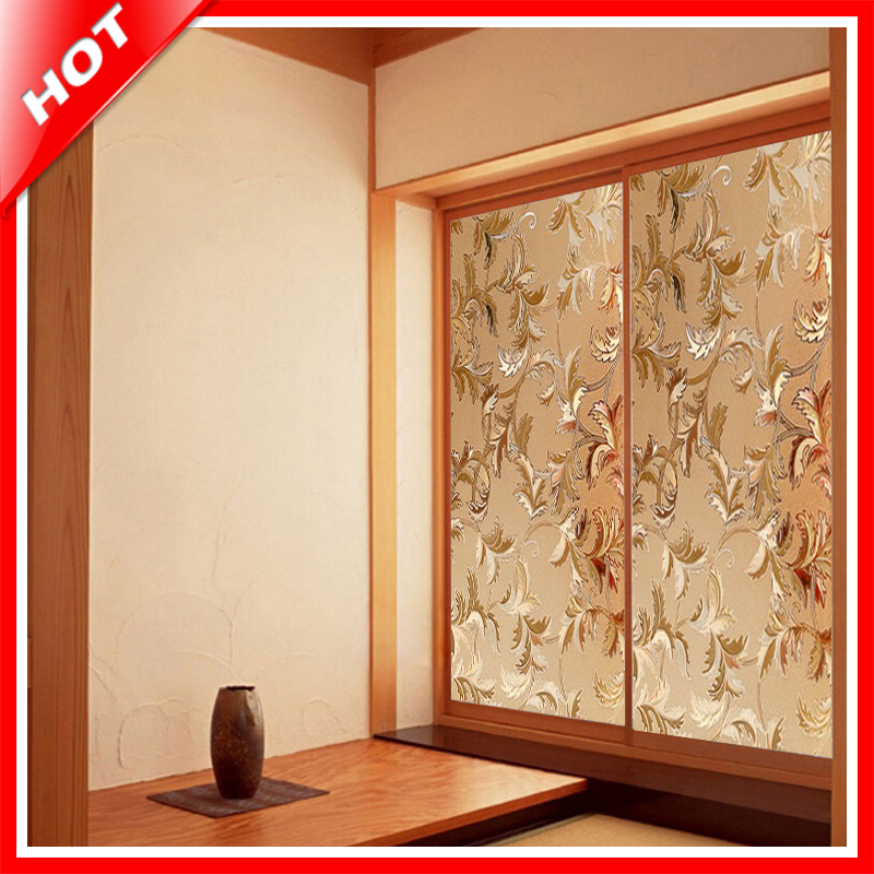 Fashion 45 100cm Flower Stained Glass Film Decorative