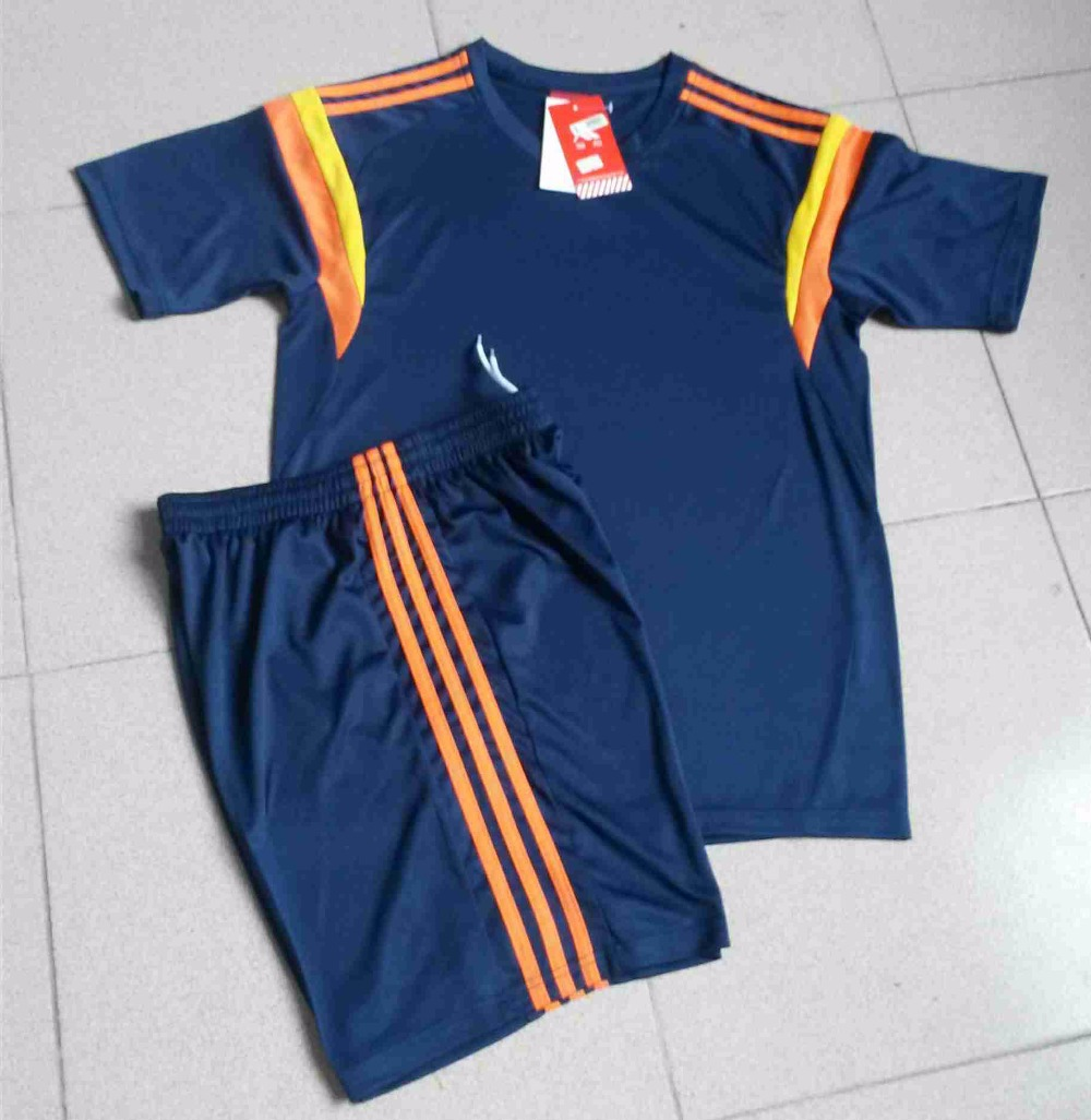 Blank Soccer Jersey 2016 USA Short Sleeve + Pants Summer Sports Football Training Set Kits Top Thai Customized Logo Name Number(China (Mainland))