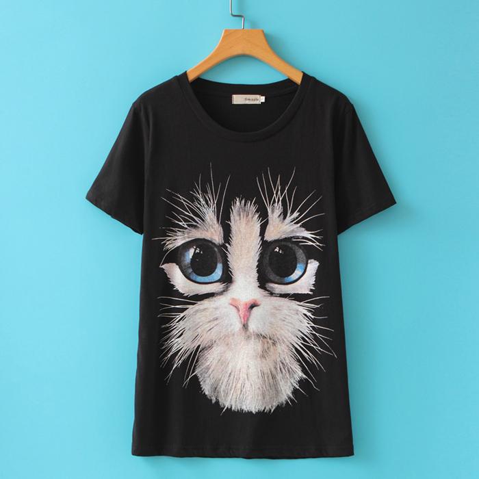 Summer Women T-Shirts Printed Cat Short Sleeve O-Neck Black Tees Cute Tops Plus Size XL-4XL - ZHEJIANG LEIMING LTD., store