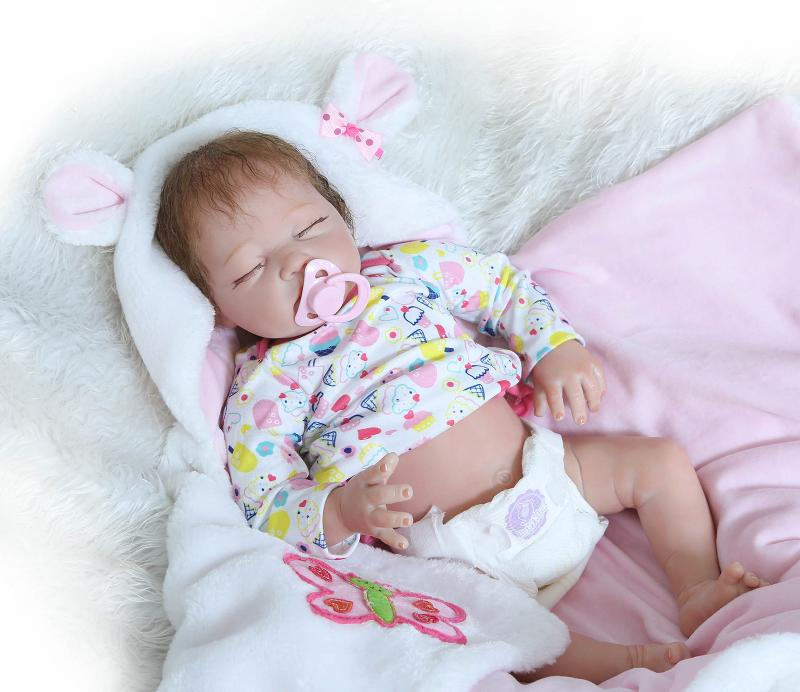 Pinky Handmade 22Inch 55cm Realistic Looking Soft Dolls Silicone Vinyl Reborn Baby Dolls Real Touch Lifelike Doll Newborn Baby Dolls Cute Xmas Gift NUER Collection