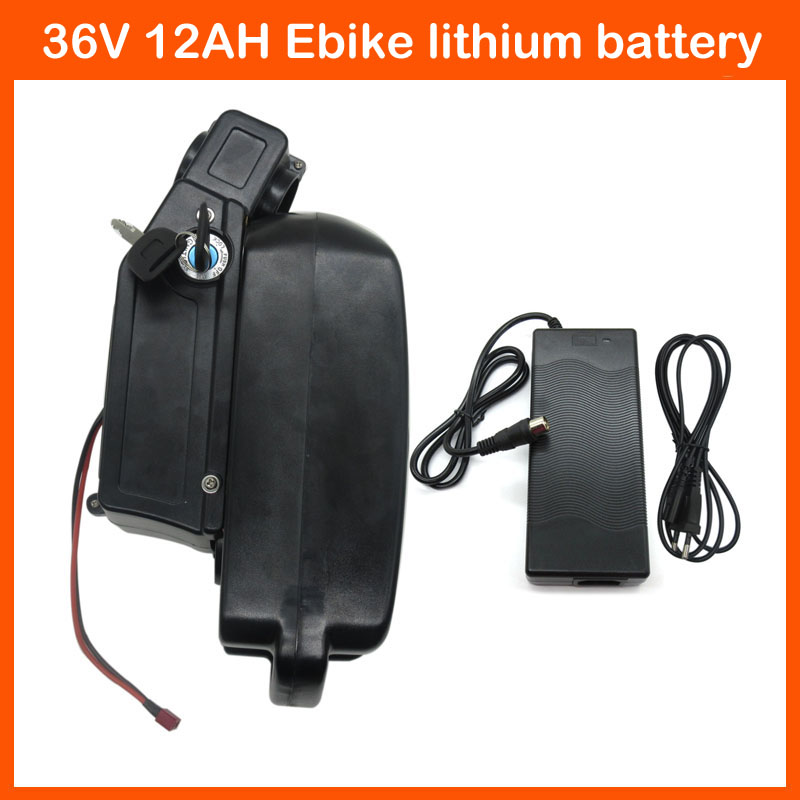 500W Rechargeable Lithium Battery ebike battery 36V 12AH For Bicycle with 15A BMS 42V 2A charger free shipping(China (Mainland))