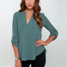 2016 New Spring Summer Women V-neck Loose Chiffon Blouse Shirt Fashion Tops Blusas Feminina Camisas 6 Colors Plus Size S-3XL(China (Mainland))