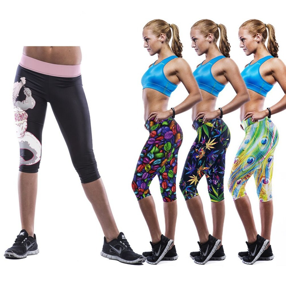 3D printed personality skull leafs A variety of Multicolor width waist high waist short leggings casual skinny soft sport pants(China (Mainland))