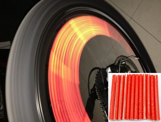 24pcs Red New Bike Bicycle Wheel Wire Reflective Spoke Stickers Mount Clip Tube<br><br>Aliexpress