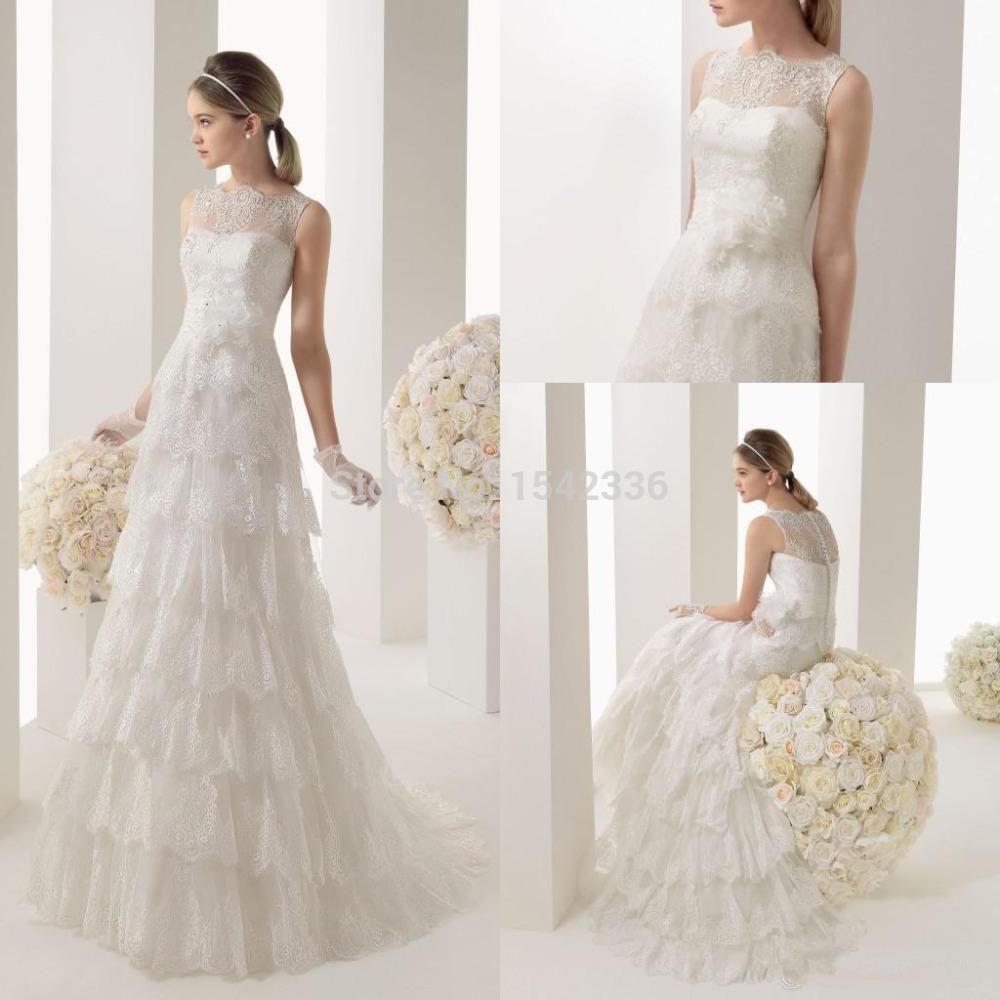 Scoop neck tiered lace skirt floor length elegant 2014 for Floor length lace wedding dress
