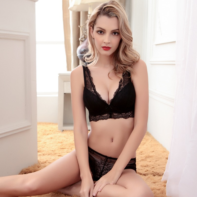 TIC TEC Female Underwear bow Floral Lace Bra And Panty Set Adjustment Side Gather Sexy Ultra