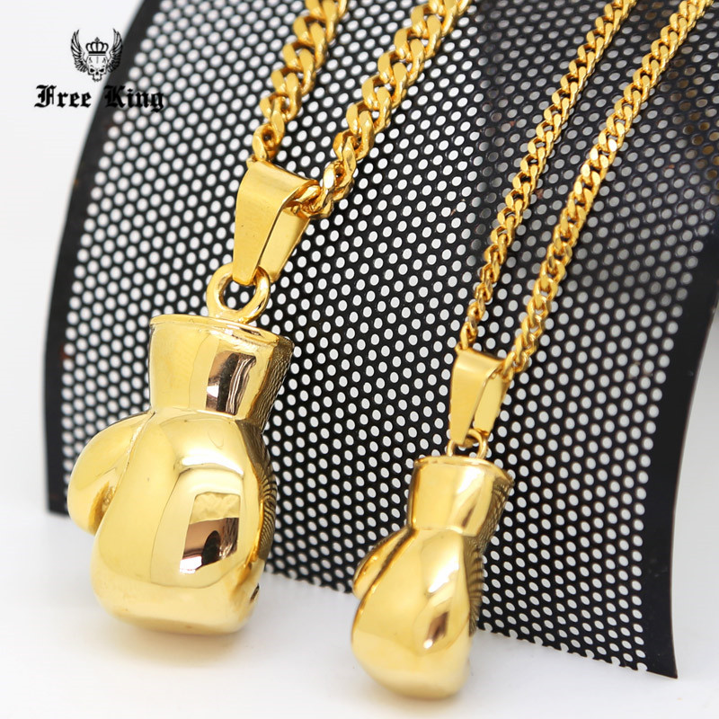 "316L Stainless Steel Gold Solid Cool Rocky Boxing Glove Pendant & 24""/27.5"" Cuban Chain Hip Hop Necklace(China (Mainland))"