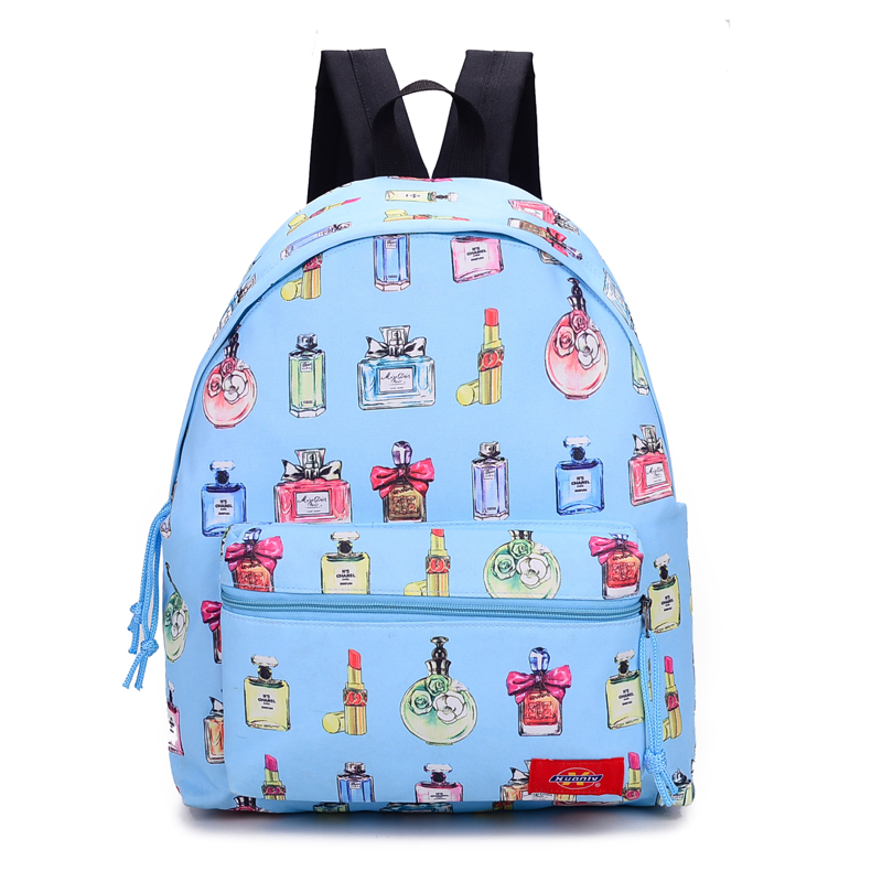 Fresh printing nylon backpack Fashion and light outdoor sport bag School bags for teenage girls Beauty women's travel bags(China (Mainland))