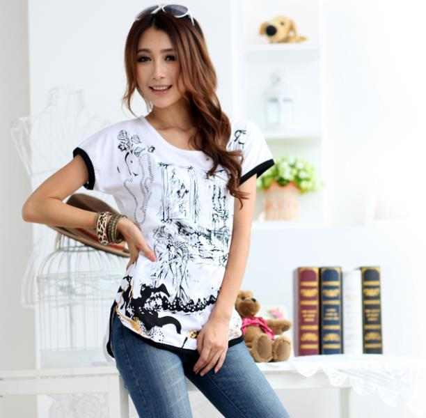 L-XXXL Summer New Arrivals T-shirts Plus Size Women's T Shirts Cotton O-neck Slim Tops Lady Butterfly Printed Tee(China (Mainland))