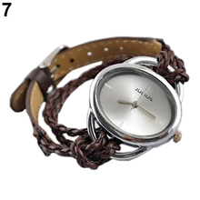 2015 New Lady White Bracelet Charm Leather Watches Weave Quartz Movement Wrist Watch